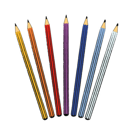 nice illustration of pencils isolated on white background Vector