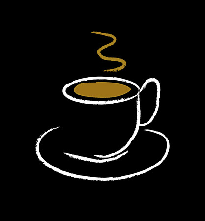 chicchi caff� su sfondo bianco: bella illustrazione della tazza di caff� isolato su sfondo nero