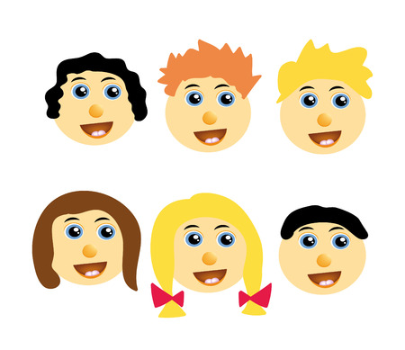nice illustration of kids happy faces isolated on background Vector