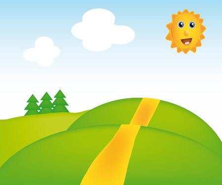 nice illustration of sunny landscape isolated on background