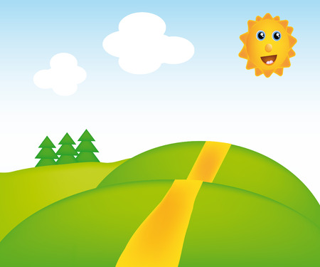 nice illustration of sunny landscape isolated on background Vector