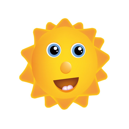 nice illustration of happy sun isolated on white background Vector