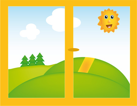 nice illustration of window with beautifull landscape Vector