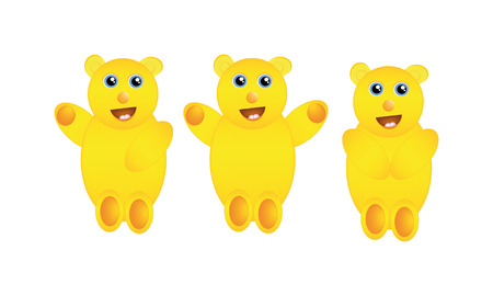 nice illustration of abstract yellow teddy bear isolated on white background Vector