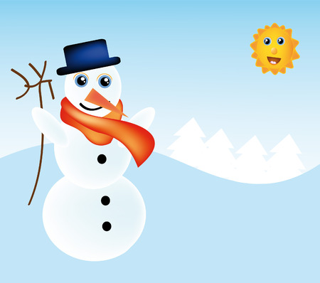 nice illustration of snowman with nice winter landscape Stock Vector - 6062793