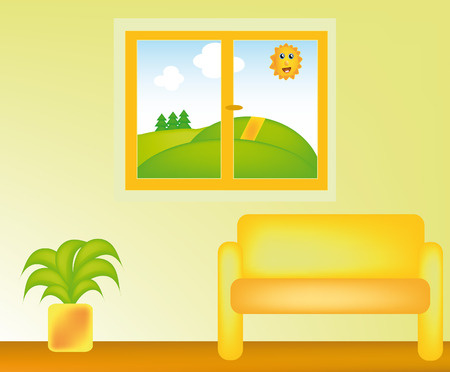 nice illustration of living room with nice view from window Vector