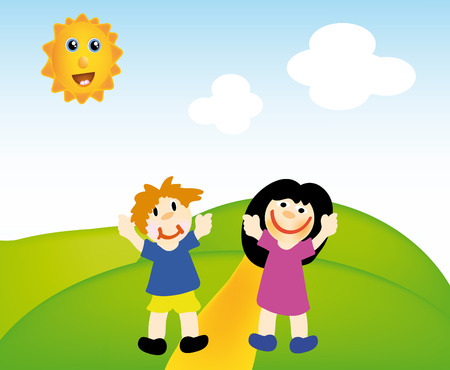 nice illustration of  kids in nice landscape with sun