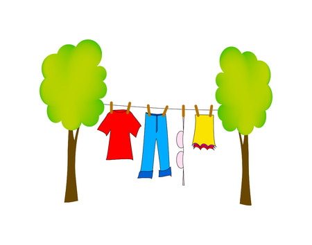 laundry line: bonita ilustraci�n de lavado seco aislado sobre fondo blanco