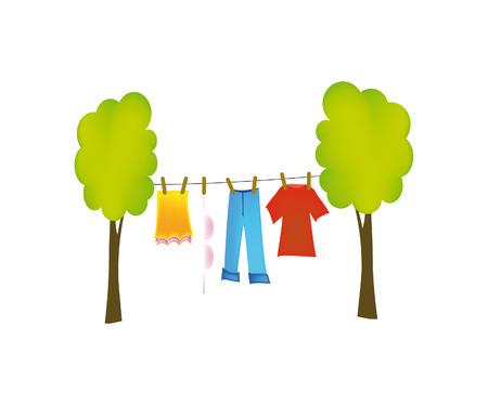 clothesline: nice illustration of dry washing isolated on white background Illustration