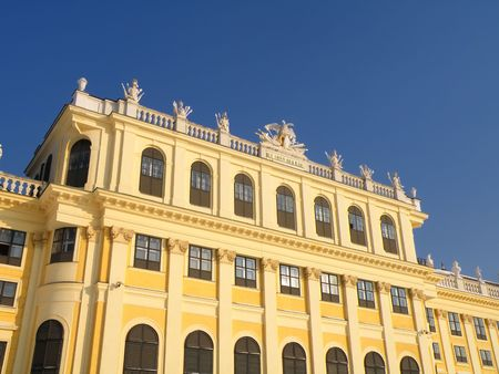 sissy: nice detail of a castle Schoenbrunn in Vienna isolated on blue sky Stock Photo