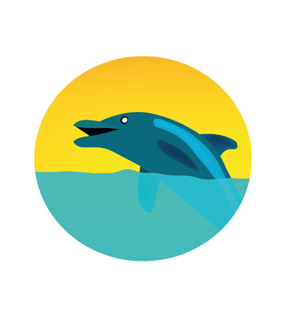 nice illustration of circle logo with dolphin isolated on white Vector