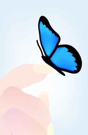nice illustration of butterfly sitting on hand  Vector