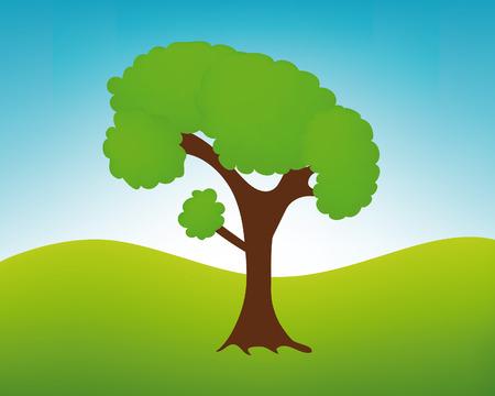 nice illustration of tree in landscape Vector