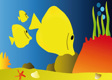 nice colorful detail of aquarium with yellow fishes Stock Vector - 6158234
