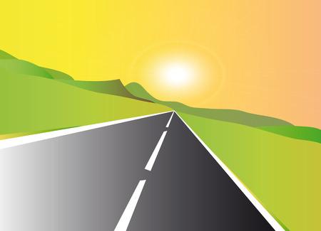 very nice illustration of highway at sunset Illustration