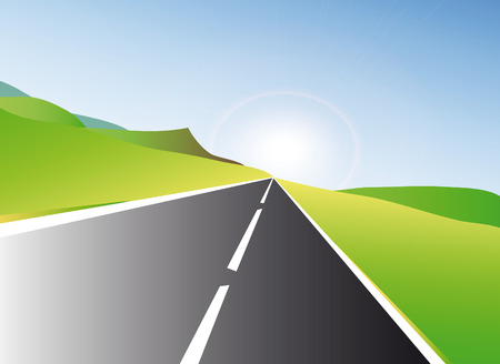 very nice illustration of highway at sunset Vector