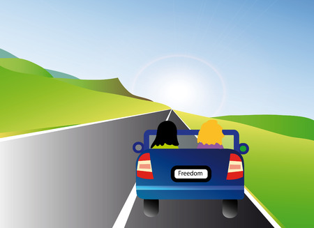 nice illustration of blue car with two people in landscape Vector