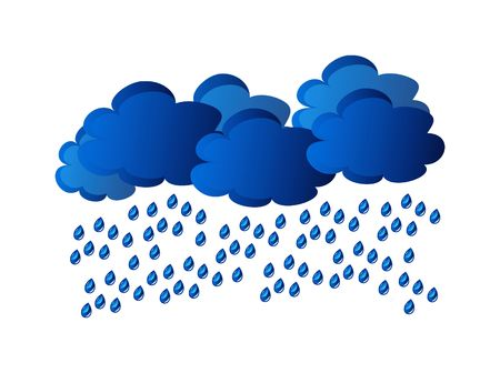 rain - clouds and water drop isolated on white background