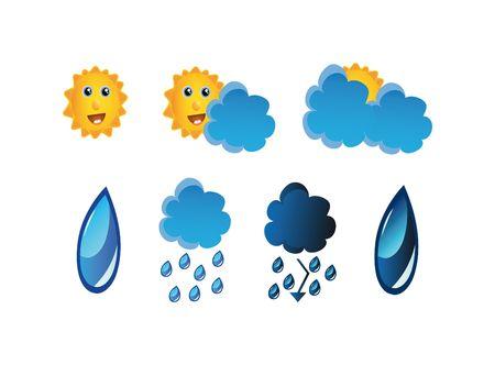 nice weather set icons isolated on white background Stock Photo - 6243146