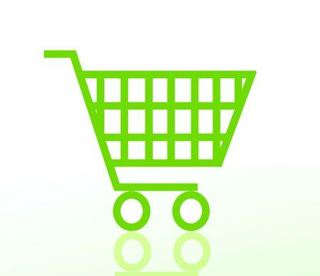 logo de comida: carro de la compra verde aislado sobre fondo blanco Foto de archivo