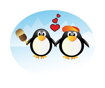 penguin in love isolated on white background photo