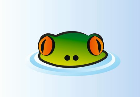 long lake: frog head with big eyes in water Stock Photo