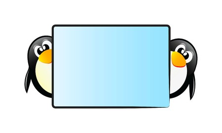 Very nice illustration of happy penguin you can put your text on the table illustration