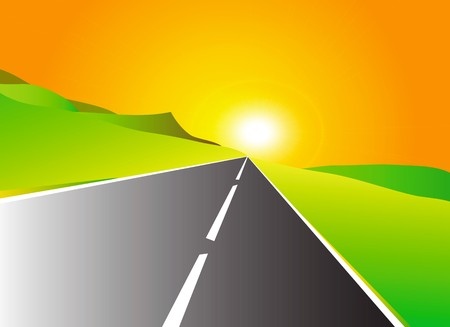nice illustration of road to sun illustration