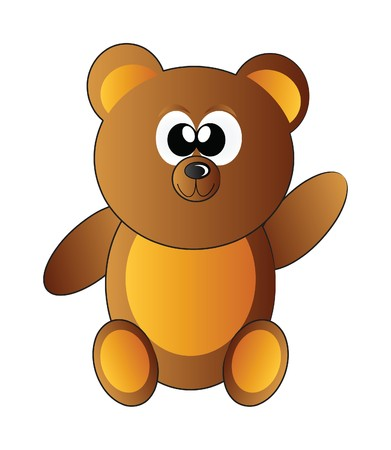 little happy teddy bear isolated on white background photo