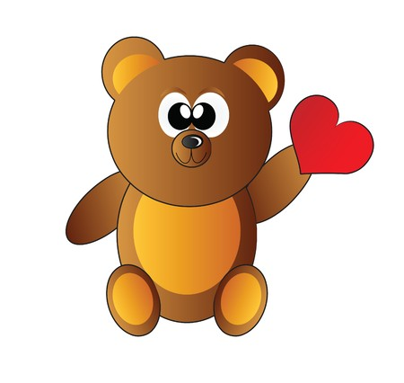 stuffed animals: teddy bear with heart isolated on white background