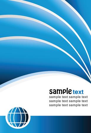 sample text: fondo azul moderno con las olas, el texto de muestra y el globo