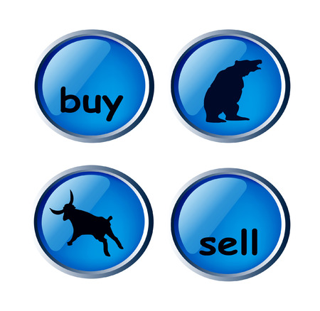sell: glossy forex buttons - buy, sell, bear and bull isolated on white background Illustration