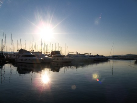 Sunny day in port - Biograd na Moru in Croatia photo