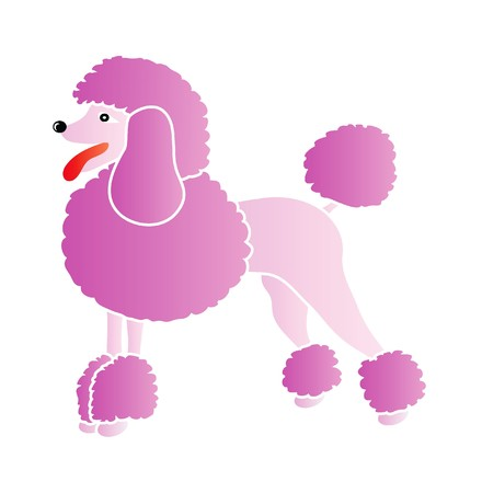 dog grooming: nice illustration - pink poodle isolated on white background