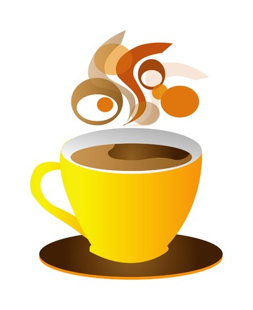 chicchi caff� su sfondo bianco: tazza di caff� isolato su sfondo bianco