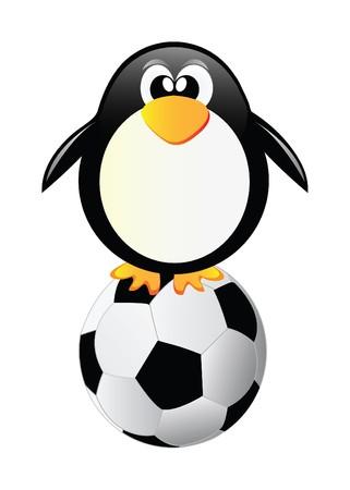 Pingüino con balón de fútbol aislado sobre fondo blanco