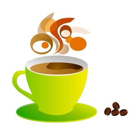 chicchi caff� su sfondo bianco: bella illustrazione - fare una pausa e prendere una tazza di caff�