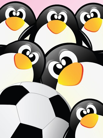 nice illustration of little sweet penguins Vector