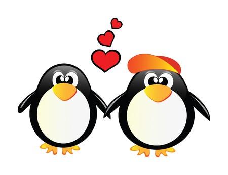 nice illustration of little sweet penguins Stock Vector - 7477362