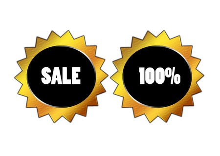 nice advertising buttons isolated over white background photo