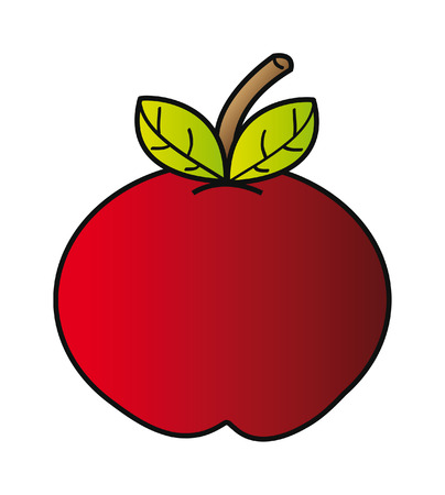 red cartoon apple isolated on white background Vector