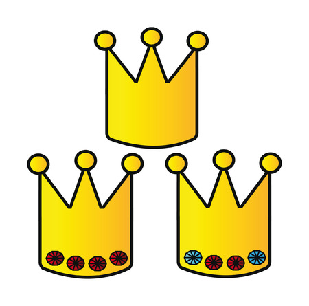 cartoon golden crowns isolated on white background Vector