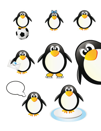 nice set of penguins isolated over white background Illustration