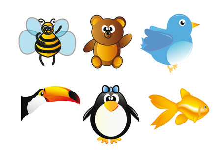 set of animals - bee, bear, bird, toucan, penguin and fish isolated over white background