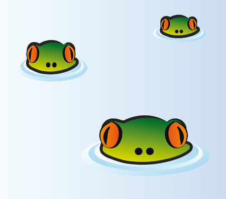 heads of frog looking from water surface - illustration Vector