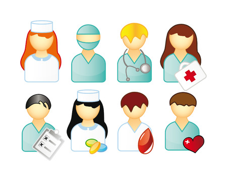 medical computer: set of medical people isolated over white background Illustration
