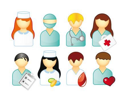 medische kunst: set van medische mensen geïsoleerd op witte achtergrond
