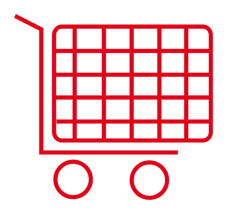 red icon of shopping cart isolated over white background Vector
