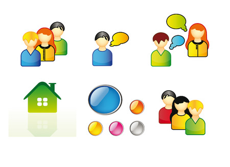 set of icons for web - young people, home icon and buttons isolated over white background Vector