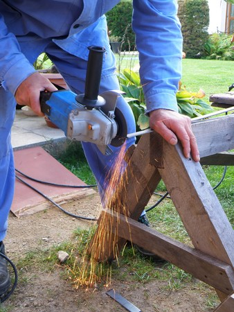 detal of grinding - detail of man and fire Stock Photo - 7787189